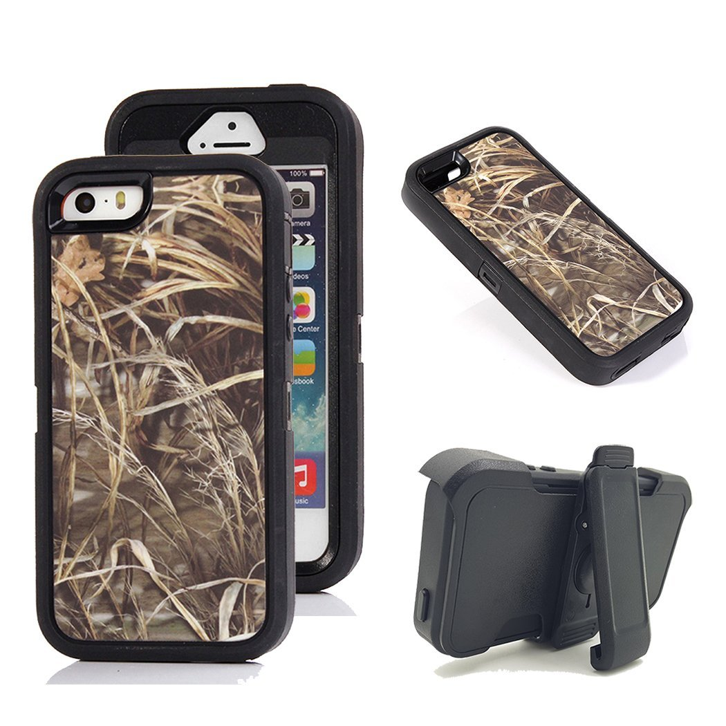 iPhone SE Holster Case, Kecko Defender Military Tough Rubber Shockproof High Impact Hybrid Hunting Camo Tree Case Covers For iPhone 5s with Belt Clip Built-in Screen Protector (Straw Black)