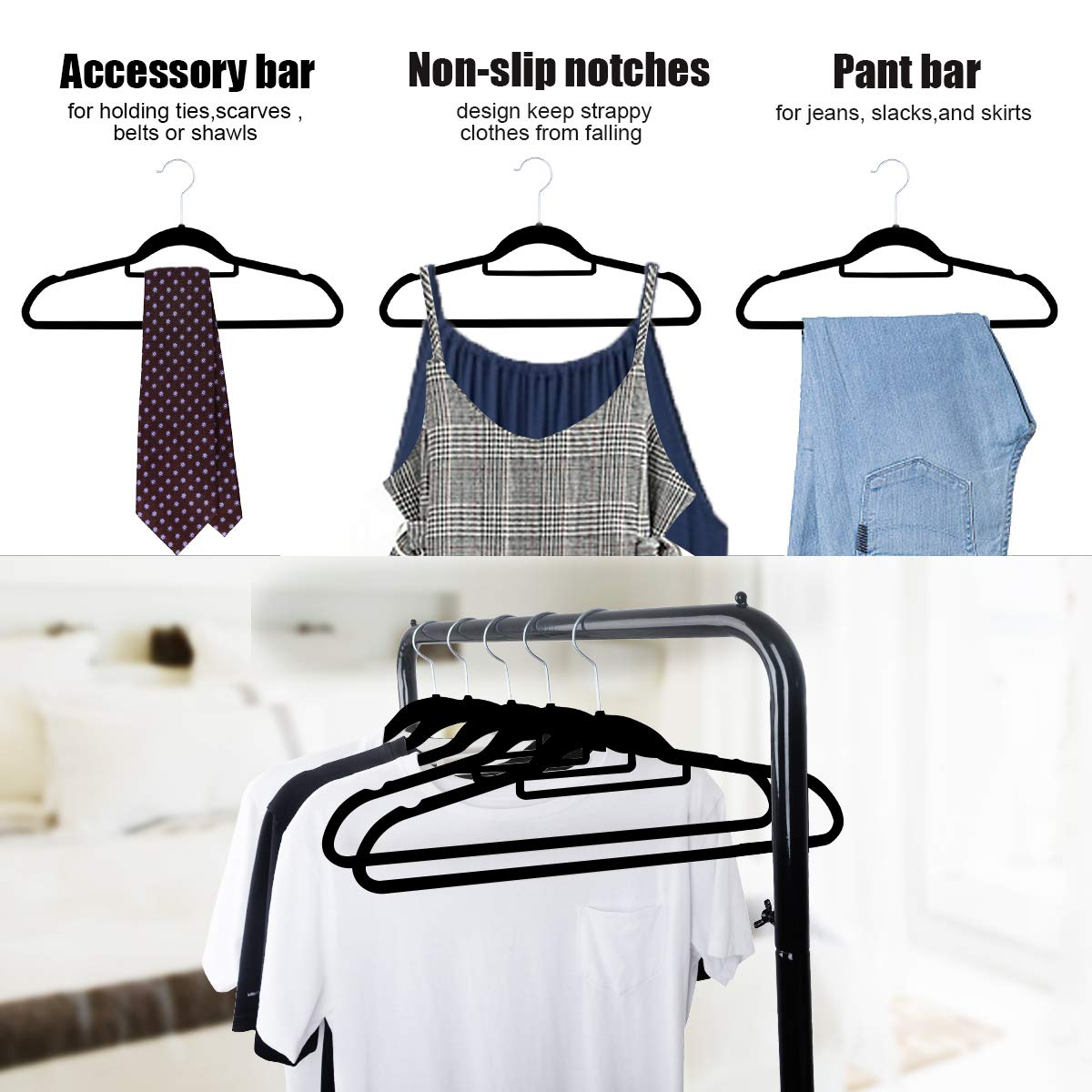 NUOKING Velvet Hangers 50 Pack Non-Slip Home Clothes Hangers Hold Up to 11 Lbs Suit Hanger Swivel Chrome Hook Coats Jackets Dress Shirt Pants (Black)