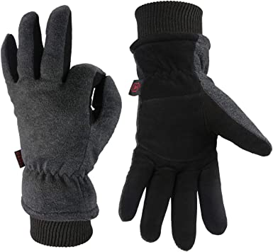 30/°F Coldproof Thermal Water Resistant Deerskin Suede Leather and Insulated Polar Fleece for Driving//Cycling//Running//Hiking//Snow Ski in Cold Weather Winter Gloves Warm Gifts for Men and Women