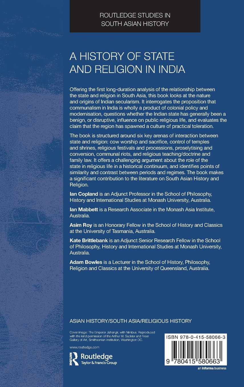 A History of State and Religion in India (Routledge Studies in South Asian History)