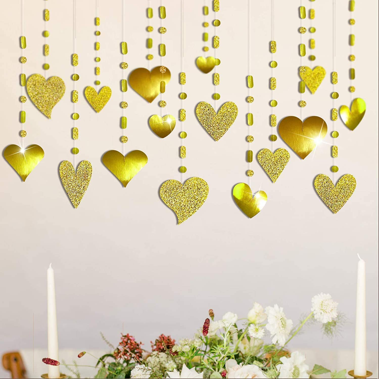Glitter Gold Heart Garland Decorations Hanging Heart Streamer Banner Backdrop for Valentines Mother's Day Decor Wedding Anniversary Bachelorette Engagement Baby Shower Birthday Party Supplies