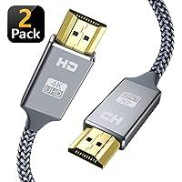 Snowkids Hdmi Kabel 2er-Pack 2m,2 Stücke 2.0 a/b Highspeed mit Ethernet,4K hdmi Kabel 2.0/1.4a, Video UHD 2160p, Ultra HD 1080p, 3D, ARC, CEC, Xbox PS3 PS4 PC