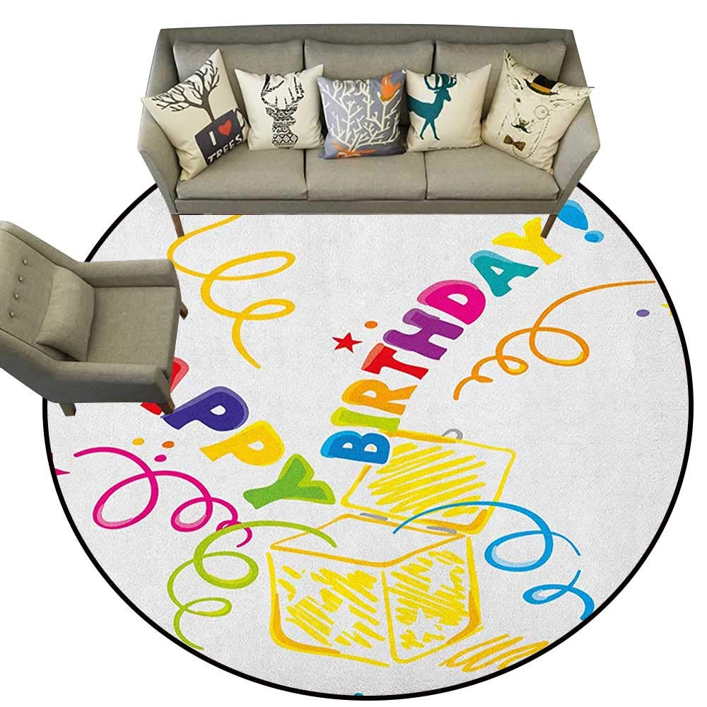 Style04 Diameter 72(inch& xFF09; Birthday,Personalized Floor mats The Words Happy Birthday with Vivid Balloons Confetti Rain Blithesome Happy Day D54 Floor Mat Entrance Doormat