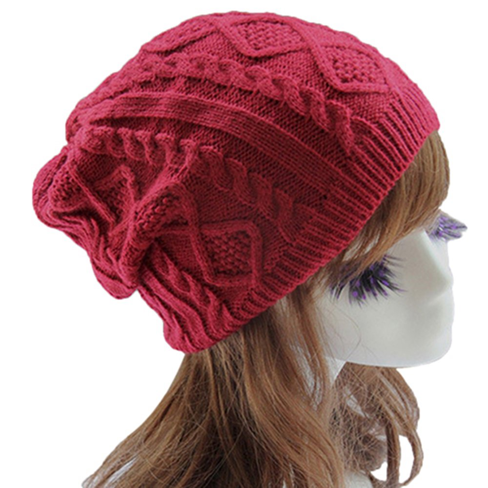Knit Crochet Womens Beret Hat Winter Warm Beanie Cap