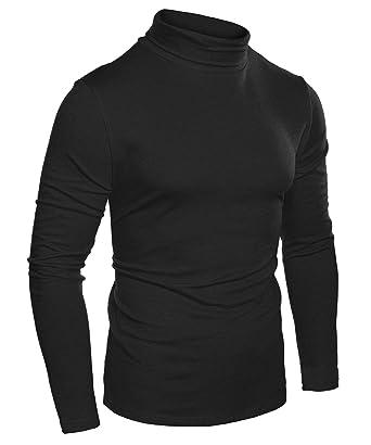 4d3020c04f Coofandy Homme Col Roule T-Shirt Tee Top Haut Decontracte Manche Longue Noir  S