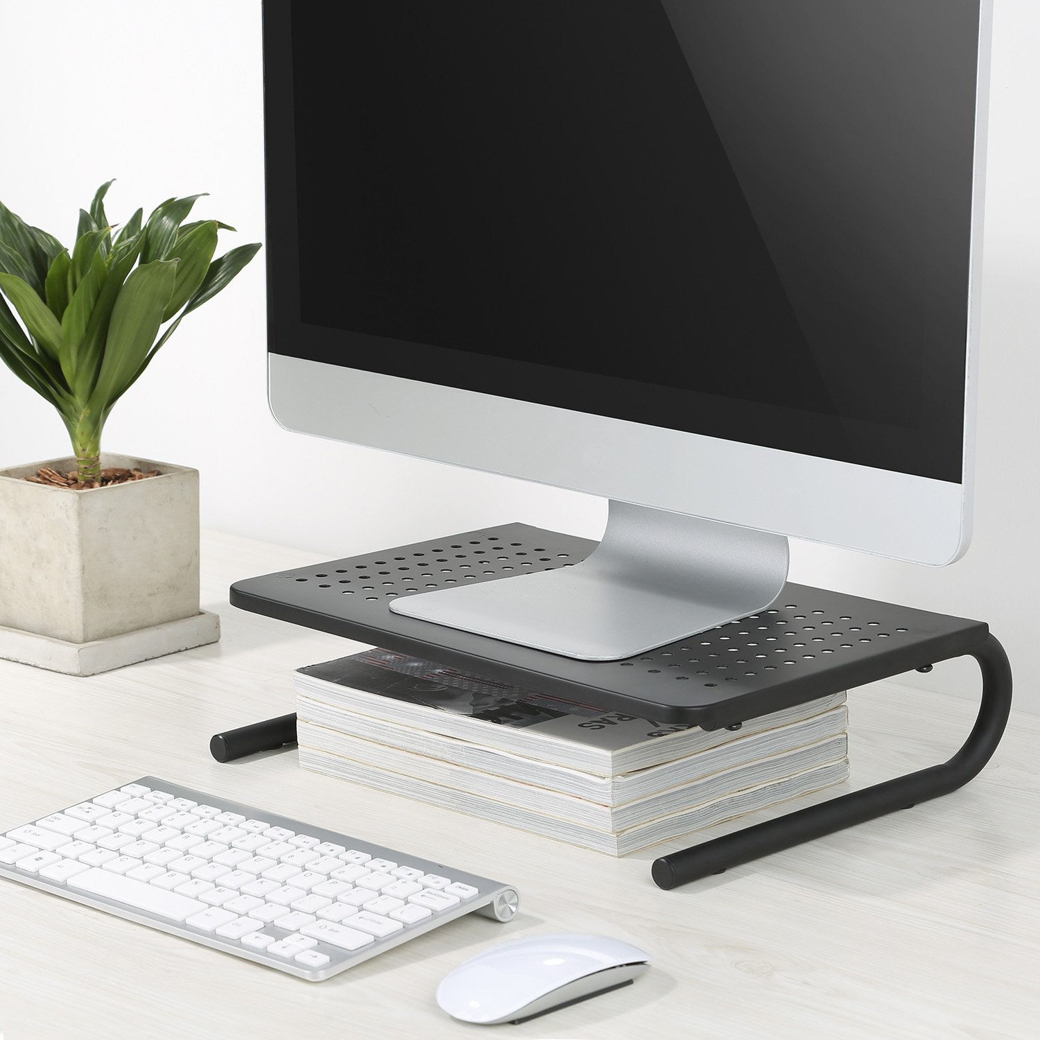 Monitor Stand Riser with Vented Metal for Computer, Laptop, Desk, iMac, Printer with 14.5 Platform 4 inch Height (Black, 2 Pack) by HUANUO (Image #4)