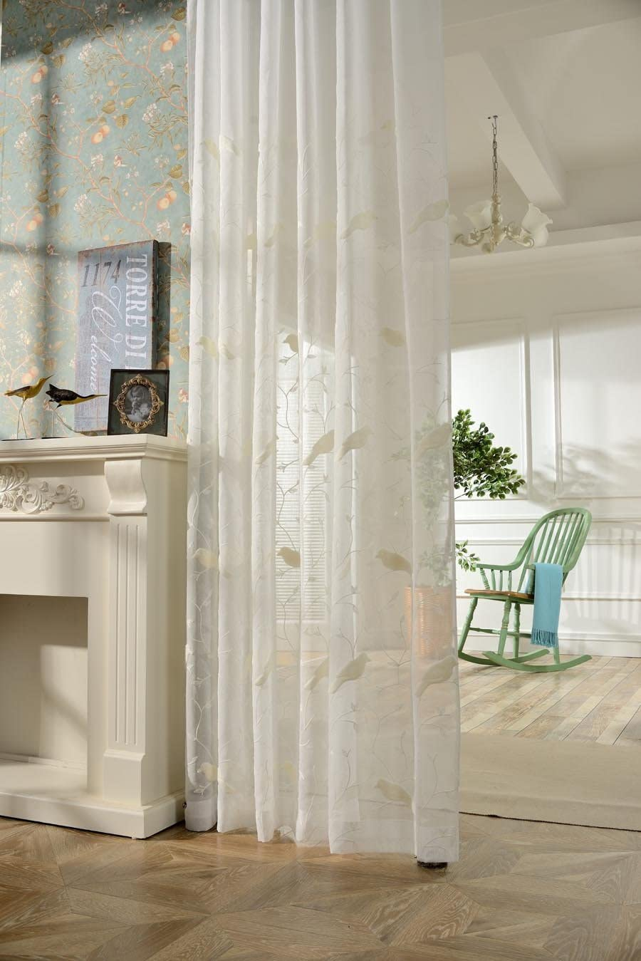 AliFish 1 Panel Birds and Trees Embroidered Decorative Sheer Curtains Home Fashion Window Traetment Elegant Country Style Voile Yarn Gauze Drape Panels for Kids Room Living Room W39 x L96 inch