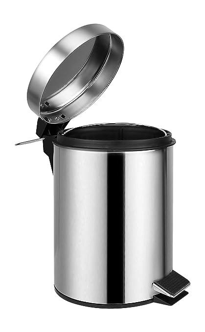 Ambrosya® | Exclusivo Cubo de cosmética Hecho de Acero Inoxidable | Papelera Cuarto de baño Tapa Litro Bolsa de Basura Pedal Inodoro Bin (Acero Inoxidable ...