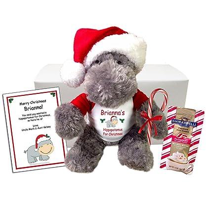 Hippo For Christmas.Hippopotamus For Christmas Personalized Stuffed Hippo Gift Set