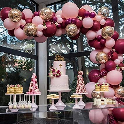 Burgundy Balloons Pink Gold Confetti Balloons Garland Kit 7 pcs Burgundy  and Gold Birthday Party Decorations Burgundy Wedding Decorations Wine Red
