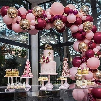 Amazon.com: Globos de color rosa y dorado, confeti ...
