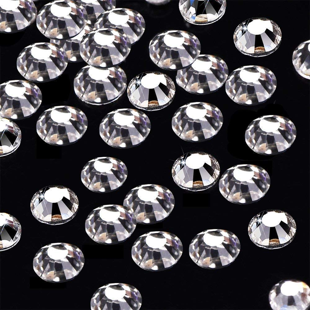 Non Self-Adhesive Crystal AB Onwon 288 Pieces SS30 6.35mm Clear Crystal Flat Back Brilliant Round Rhinestones Glass Stones Glitter Gems Transparent Faux Diamond