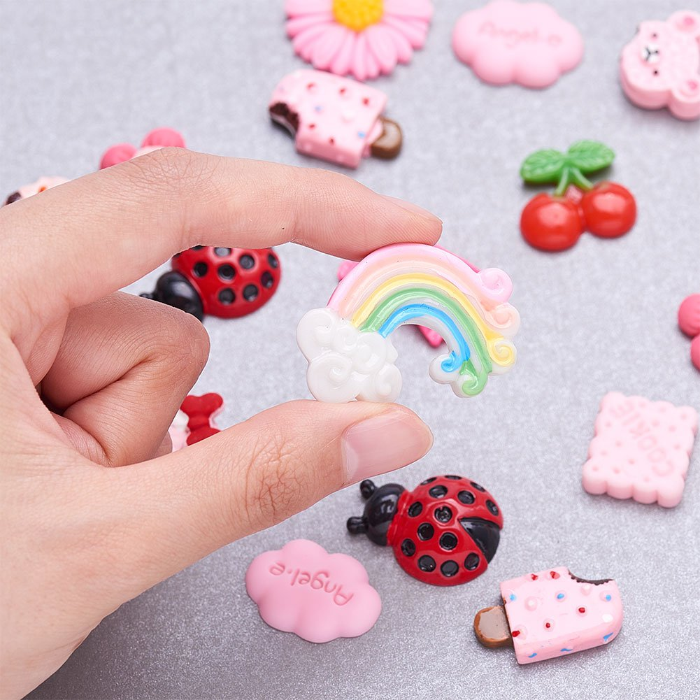 PandaHall Elite 48 Pcs Mix Lots DIY Candy /& Cake Resin Flatback Cabochons for Craft Making Mixed Color
