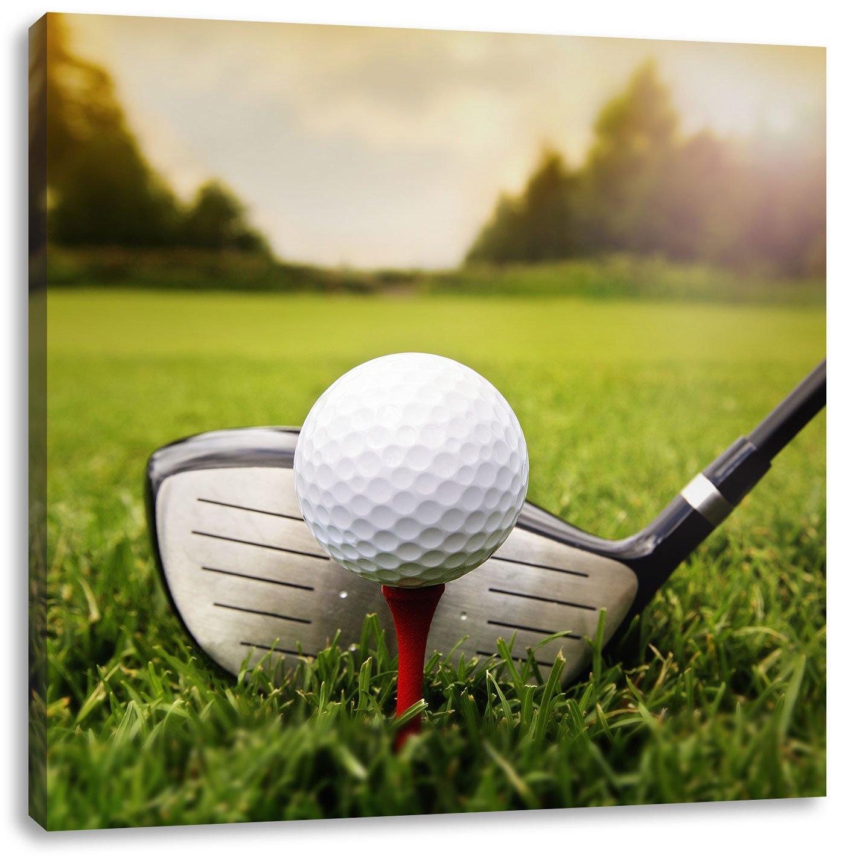 Golf Abschlag, Format: 70x70 auf Leinwand, XXL riesige Bilder fertig ...