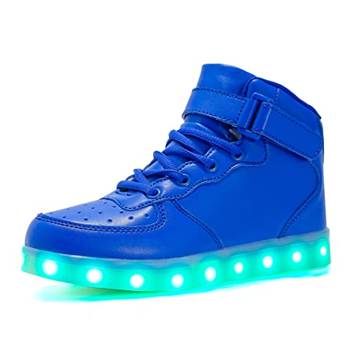 new arrivals 211a1 05238 Voovix children's light shoes, flashing LED trainers, illuminous high top  trainers, USB charging, shoes for boys and girls Blue Size: 8.5 UK Child
