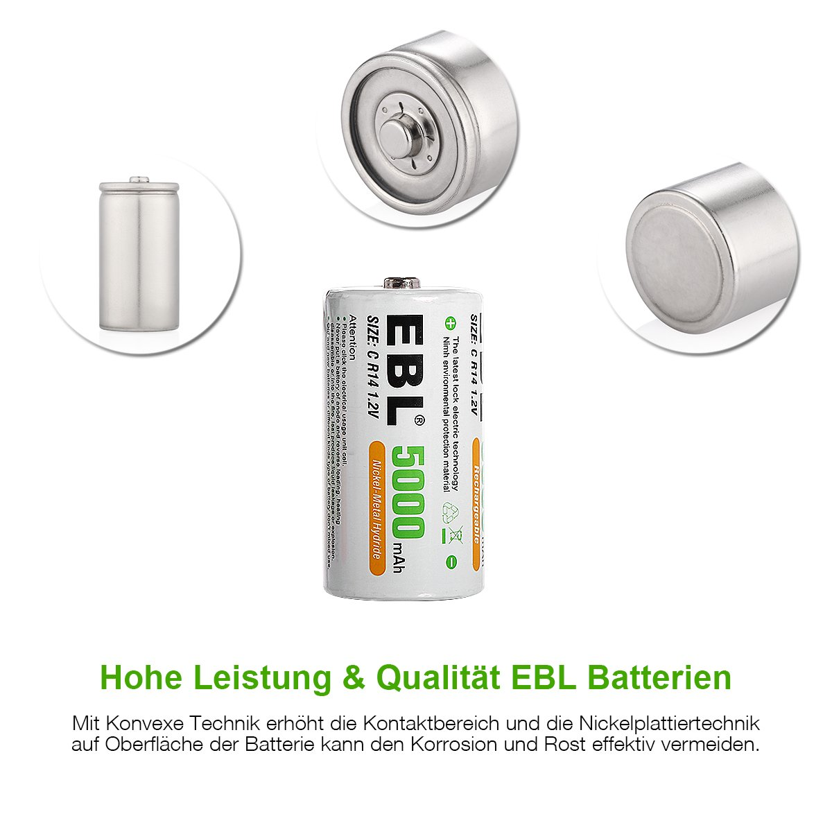 EBL 5000mAh Baby C Akkus mit hoher Kapazität Ni-MH wiederaufladbare Akkus 4 Stück