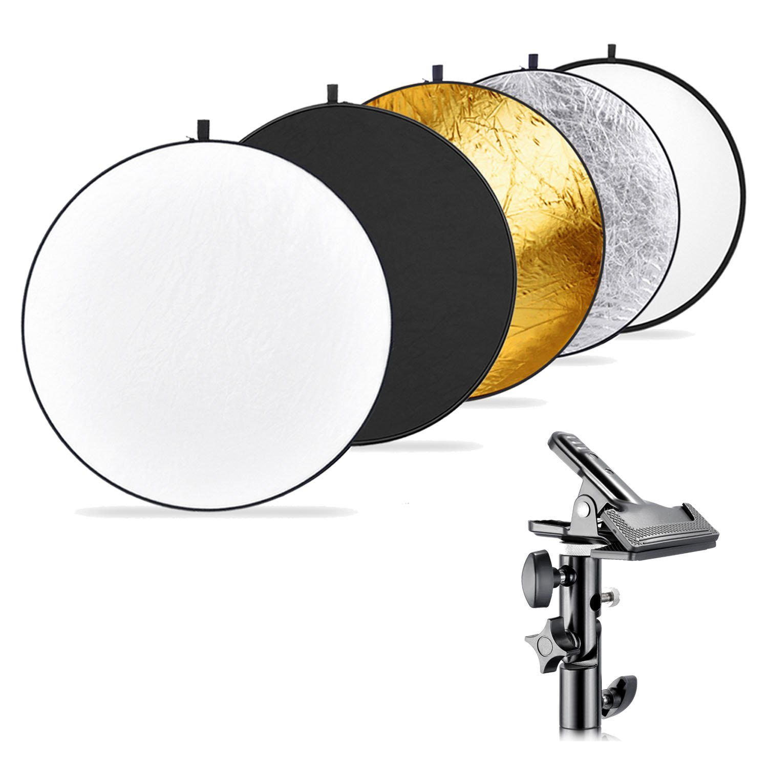 Neewer Photography 5-in-1 Multi-Disc Light Reflector (43 inches/110 centimeters) with Heavy-duty Metal Clamp Holder for Photo Studio Shooting,Collapsible Reflector Translucent/Silver/Gold/White/Black by Neewer