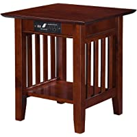 Atlantic Furniture Mission Walnut End Table w/Charging Station