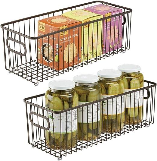 Organizadores de cocina compactos y universales con asas color bronce mDesign Juego de 2 cestas de metal Vers/átil cesto de alambre multiusos para cocina o despensa