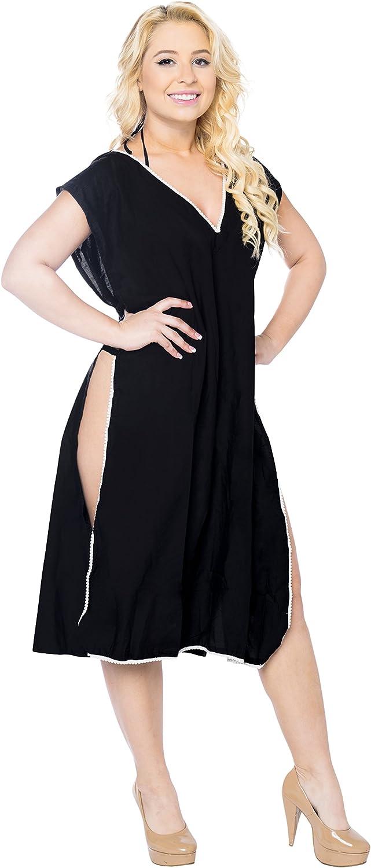 LA LEELA Swimwear Swimsuit Beach Bikini Cover ups Women Summer Dress Solid