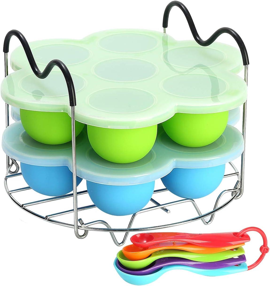 Silicone Egg Bites Molds for Instant Pot Accessories 6 qt 8 Quart, Including Steamer Rack Trivet with Heat Resistant Handles, 5-Piece Measuring Spoons Set as Bonus, Sous Vide Egg Poacher