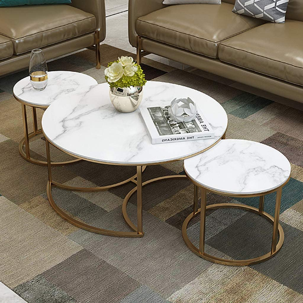 Living Room Coffee Tables Set Of 3 Round Nesting Tables With White Marble And Gold Metal Iron Base Nest Of 3 Amazon Co Uk Kitchen Home