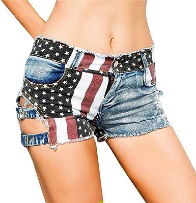 MACHINE American Flag USA Distressed Blue Denim Shorts