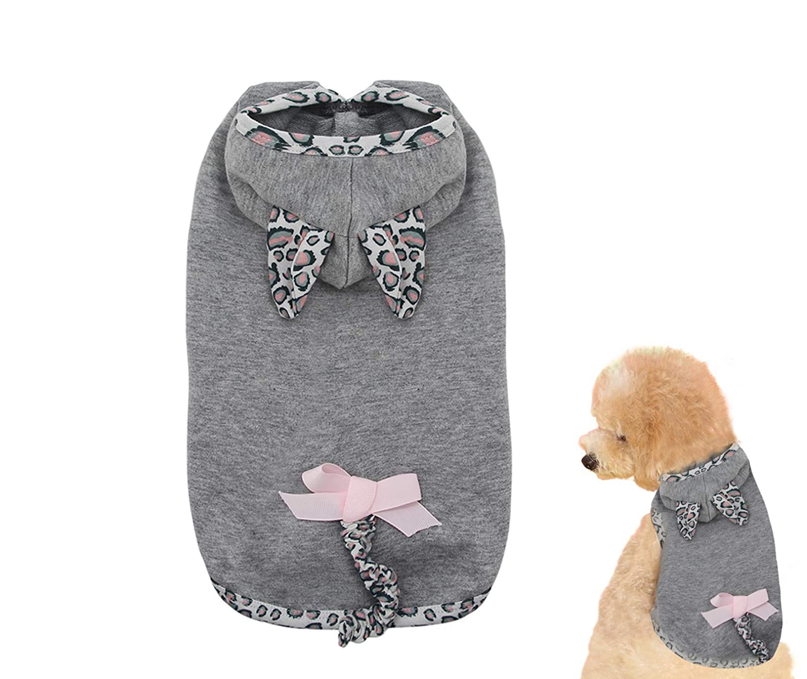 Puppy Face Leopard Tail Dog Hoodie Dog Grey Small/Medium - 8