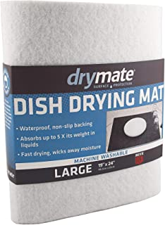 "product image for Drymate Dish Drying Mat, Premium XL Size (19"" x 24""), Kitchen Dish Drying Pad – Absorbent/Waterproof – Machine Washable (Made in the USA) (White)"