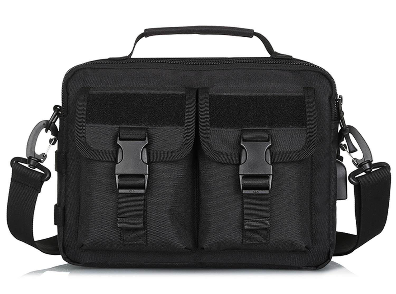 Black CamGo Multifunction Tactical Messenger Bag Mens WaterResistant Crossbody Shoulder Briefcase with USB Port (Brown)