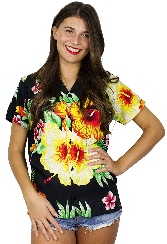 Black King Kameha Funky Hawaiian Blouse Shirt Women ShortSleeve FrontPocket Paradise Flowers Multiple colors