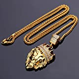 18k Gold Plated King Lion Pendant Necklace with
