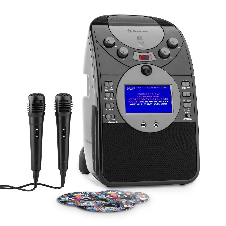 Noir Avec 3 CDs Auna ScreenStar • chaîne karaoké pour Enfants • écran TFT 9 cm • 2 Microphones • caméra Frontale • Enceintes intégrées • Lecteur CD+G • Port USB • MP3 Compati