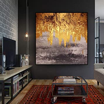 Amazon.com: Suuyar - Pintura al óleo abstracta negra y ...
