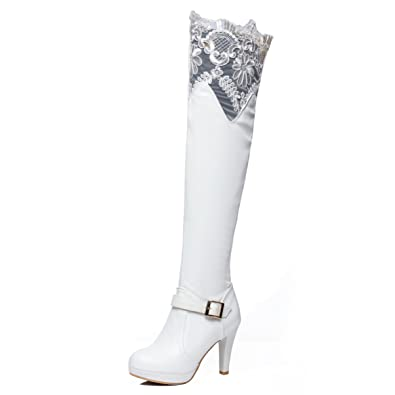 ef0cd081b JIAME Ladies Womens Sexy Bud Silk Lace Over The Knee Thigh High Platform  Heel Stretch Boots
