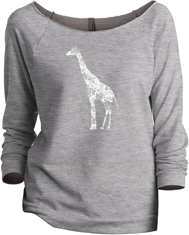 Floral Giraffe Women's Fashion Slouchy 3/4 Sleeves Raglan Sweatshirt Sport Grey