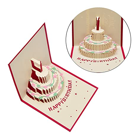 Amazon Morepack 3 Layers Cake Pop Up Card 3D Happy Birthday Office Products