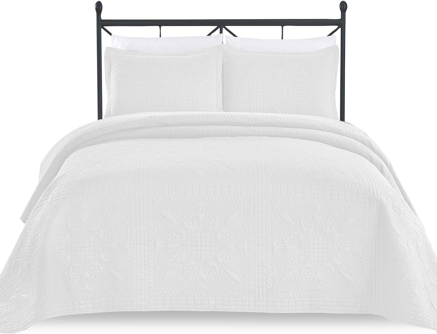 Luxe Bedding 3-piece Oversized Quilted Bedspread Coverlet Set (King/CalKing, Spring/White)
