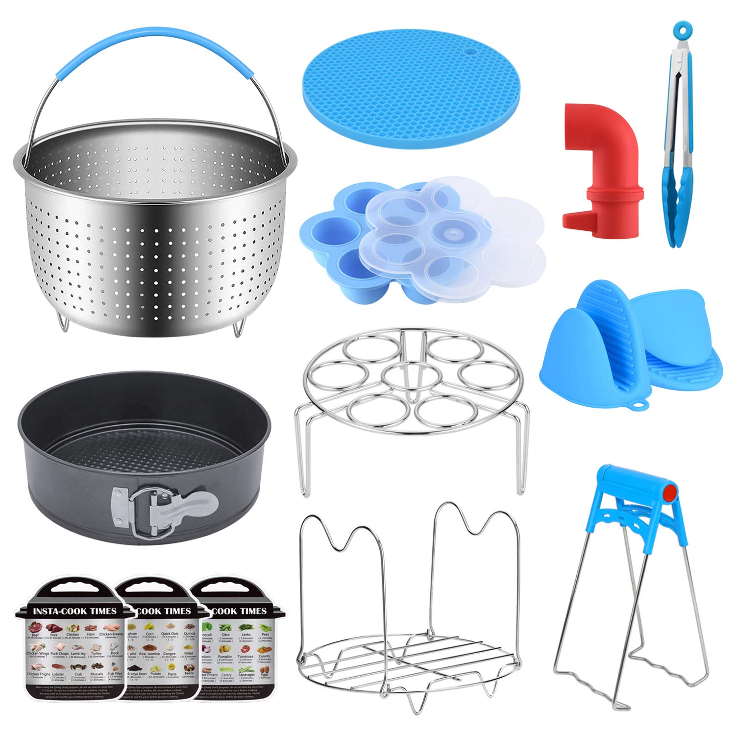 KMIKE 15 Pcs Instant Pot Accessories 5, 6,8 Qt - Pressure Cooker Accessories Set Steamer Basket, Springform Pan, Egg Bites Mold, Dish Plate Clip, Egg Steamer Rack, Oven Mitts, 3 Cheat Sheet Magnets
