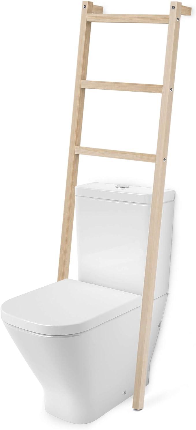 Toallero Escalera Madera Natural, con 3 PELDAÑOS, para WC baño: Amazon.es: Bricolaje y herramientas