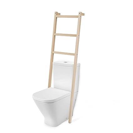 Toallero Escalera Madera Natural, con 3 PELDAÑOS, para WC baño