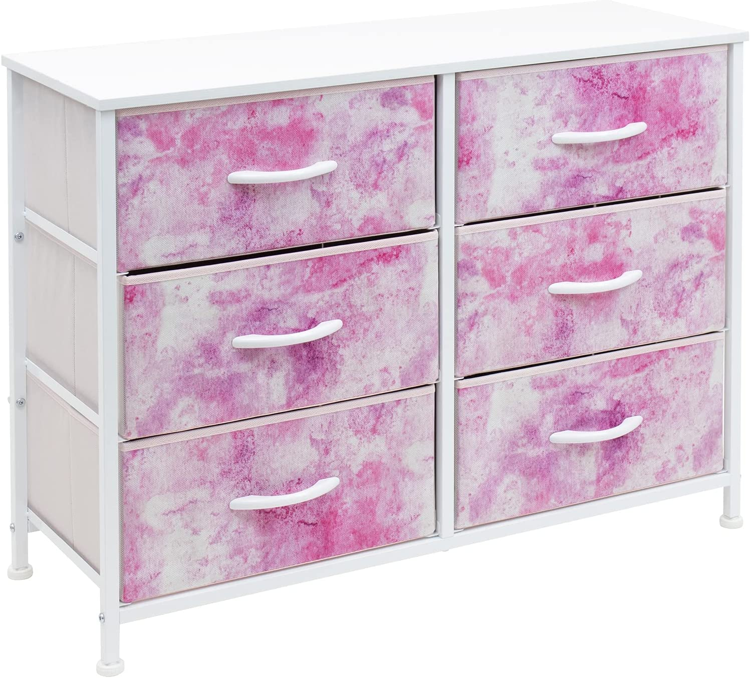 Sorbus Dresser with 6 Drawers - Furniture Storage Chest for Bedroom Tower Unit Furniture, Hallway, Closet, Office Organization - Steel Frame, Wood Top, Tie-dye Fabric Bins (6-Drawer, Pink)