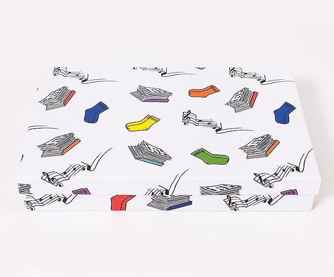 Caja cartón con nueve departamentos extraíbles decorada