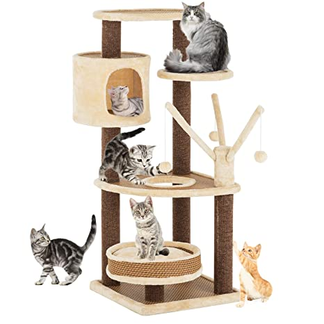 Suncoo Rattan Mat Style Cat Tree 43 Inch Modern Cat Furniture Kitten Activity Climbing Tower Pets House With Removable And Washable Mats Cube Cave