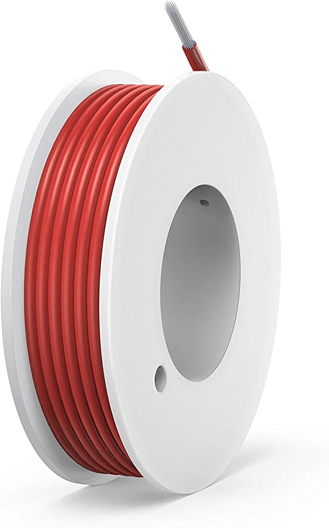 NorthPada 18 AWG 0,75mm/² Fil /électrique torons Fils de silicone Fil /étam/é C/âble Cuivre pour circuit imprim/é PCB 600V 7,5A 4 M/ètres Rouge