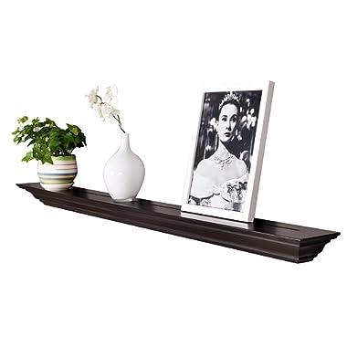 WELLAND Corona Crown Molding Floating Wall Photo Ledge Shelves Fireplace Mantel Shelf (60-Inch, Espresso)
