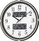 リズム時計 RHYTHM 電波 掛け時計 フィットウェーブリブ 温度 湿度 ・ カレンダー 表示付 茶 メタリック色 4FYA07SR06