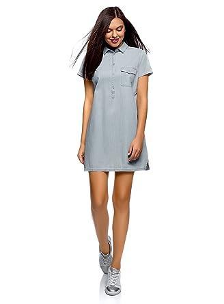 Oodji Ultra Damen Jeanskleid Mit Brusttasche Amazonde Bekleidung