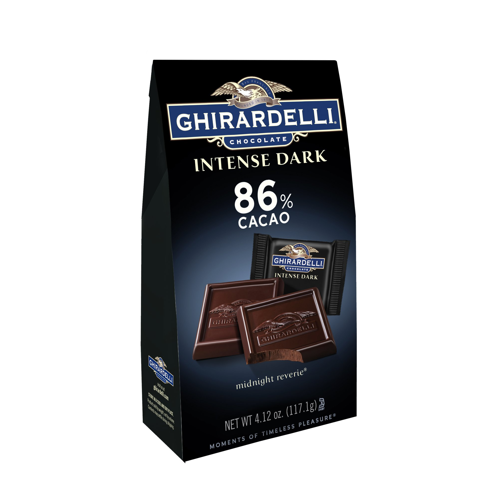 Ghirardelli Chocolate Intense Dark Squares, Midnight Reverie, 4.12 oz, Pack of 6