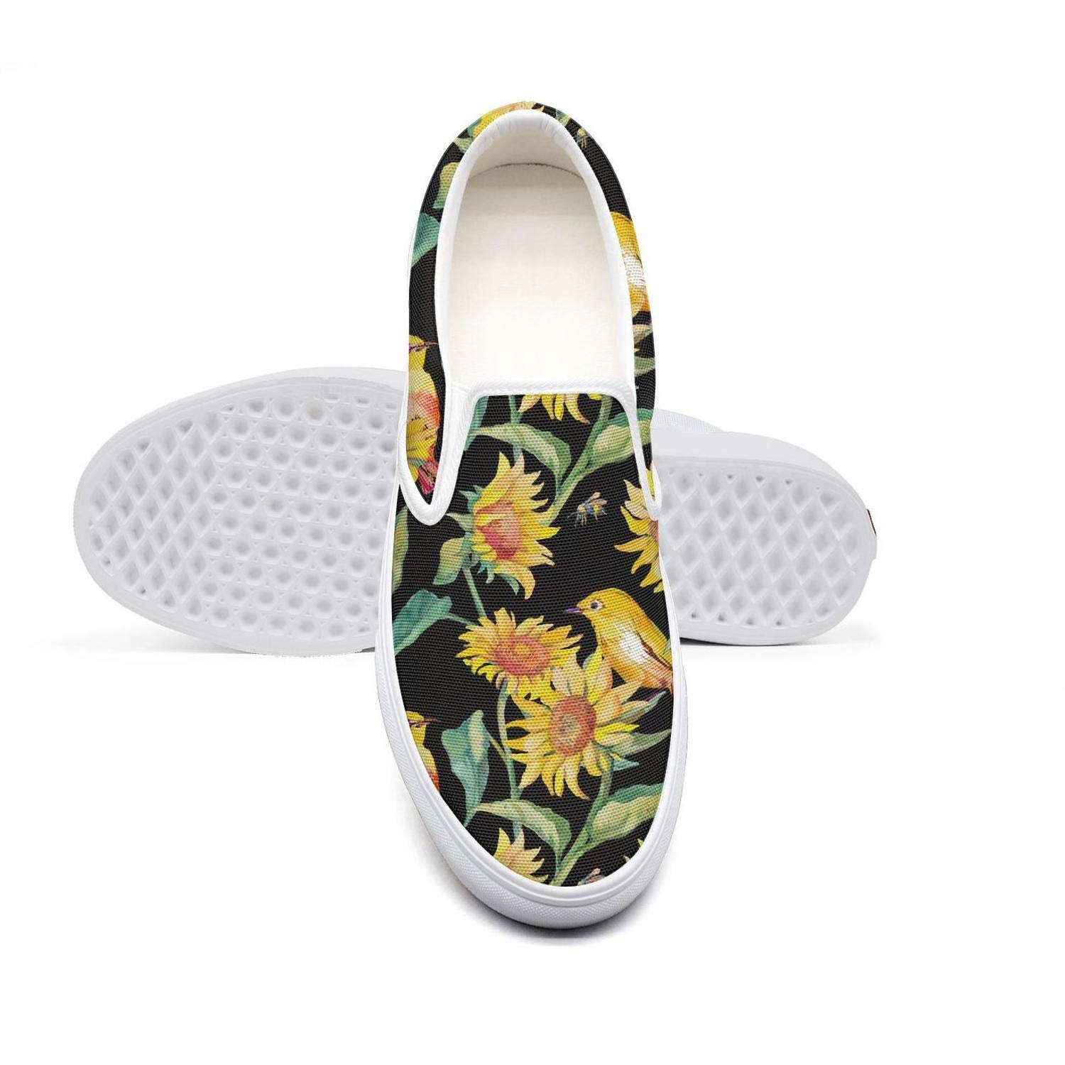 NAILINA Women Shoes Slip-on Canvas Shoes Skate Sneakers Black Watercolor Bird Cute Sunflower Plimsoll Trendy